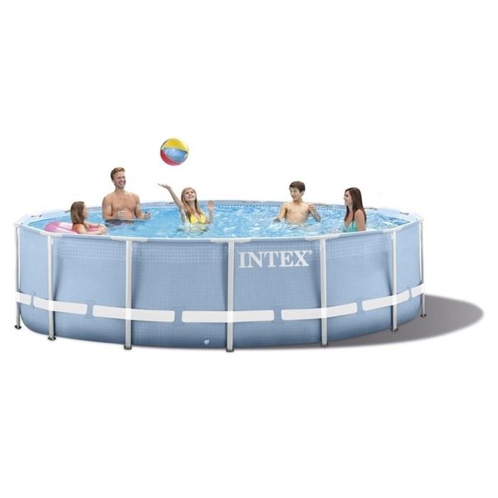 Каркасный бассейн Intex 28734 + фильтр-насос, лестница, тент, подстилка (457х107см) - фото 17203