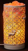 Соляной светильник STAY GOLD - лампа-камин белая в форме цилиндра