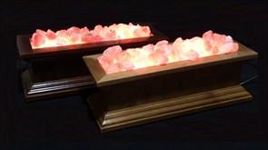 Соляной светильник  STAY GOLD -  классическая лампа-камин из Гималайской соли, светлое дерево