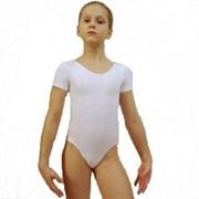 Купальник гимнастический, короткий рукав, белый, х/б, р. 34