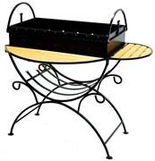 Мангал из стали 2мм с двумя столиками и дровницей  на колесиках