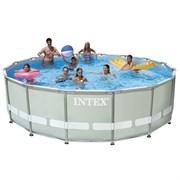 Каркасный бассейн Intex 28310 + фильтр-насос, лестница, подстилка, тент (427х107см)