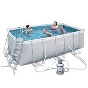 Каркасный бассейн Bestway 56457 + песочный фильтр-насос, лестница (412х201х122см)
