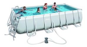Прямоугольный каркасный бассейн Bestway 56481/56332 + фильтр-насос, подстилка, тент, лестница (488х274х122см)