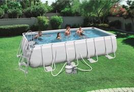 Прямоугольный каркасный бассейн Bestway 56390 + песочный фильтр-насос, подстилка, тент, лестница (488х274х122см)