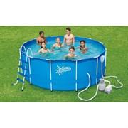 Каркасный бассейн Summer Escapes P20-1252-S + песочный фильтр-насос, лестница, тент, подстилка, набор для чистки DELUXE, скиммер (366х132см)