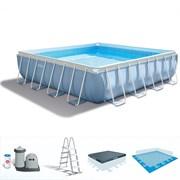 Каркасный бассейн Intex 28766 + фильтр-насос, лестница, подстилка, тент (488х488х122см)