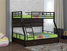 Двухъярусная кровать Гранада 1 с полкой и ящиком черный