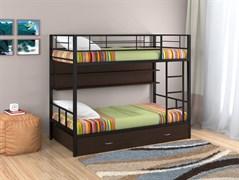 Двухъярусная кровать Севилья 2 с полкой и ящиком черный