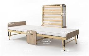 Основа Сна - деревянная ортопедическая раскладушка с матрасом + изголовье, ограничители матраса, чехол (раскладная кровать-тумба) 2000х900х440мм/1900х800х440мм